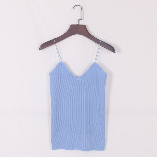 New knitted Tank Tops Women Camisole Vest simple Stretchable Ladies V Neck Slim Sexy Strappy Camis Tops Ts-004