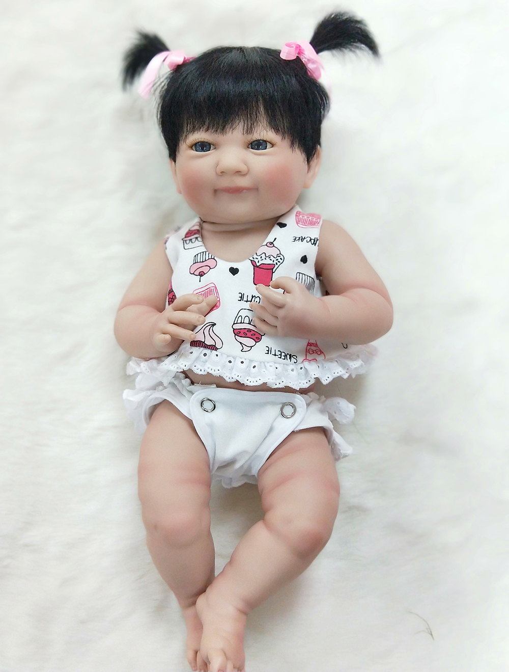 Pursue 14 Adorable Full Body Silicone Reborn Baby Girl Doll Toys for Children Girls House Play Bathable Washable Baby Girl Doll full house