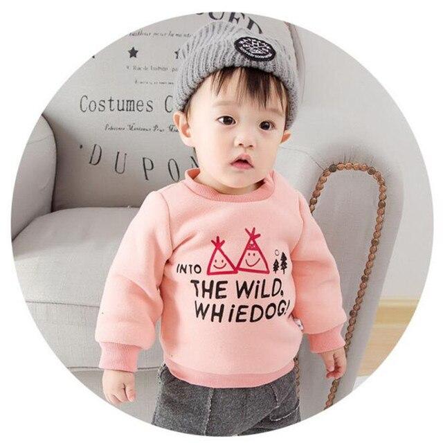 Fast Высокое Качество Детской Одежды 2016 Корейский Осень Зима Письмо Флис Утолщаются Детские Толстовка Детские Мужская Одежда