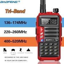 Tri Band Radio BaoFeng UV S9 8W di Alto Potere 136 174 Mhz/220 260 Mhz/ 400 520Mhz Walkie Talkie Amateur Handheld Ham Two Way Radio