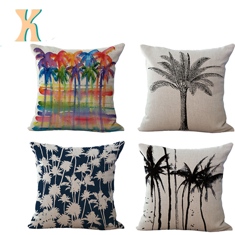 High Quality Invisible Zipper Linen Square ink color palm tree cushion cover painting style capa de almofada  Product Beige
