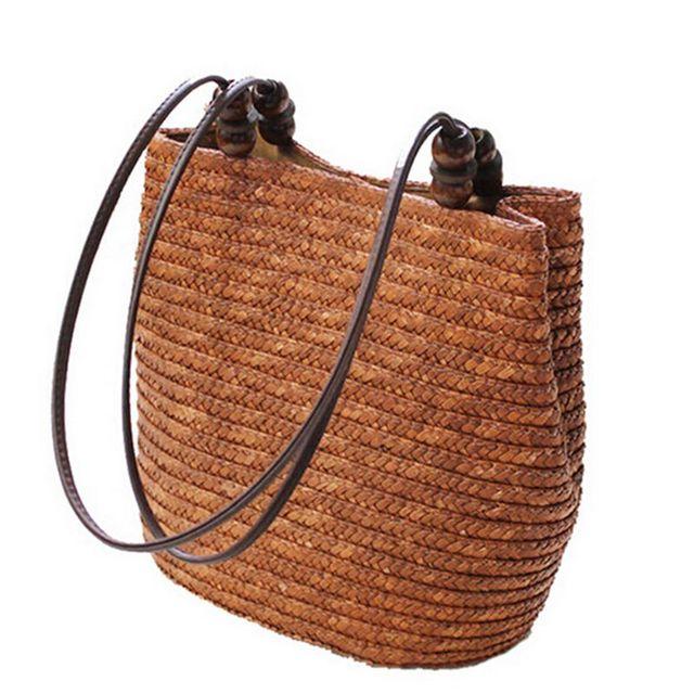 Fashion Shopping Tote Beach Bag Vintage Casual Bucket Straw Tote Bag Summer Shoulder Bag 2017 New Vintage Women Handbag  f40-694