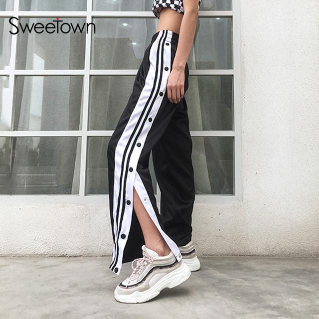 Sweetown Casual Satin Pants Side Button Striped Split Pants Women Black High Waist Straight Sweatpants Pantalon Femme Streetwear
