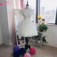 1950S Ivory Princess Wedding Ball Gown Short Knee Length Lace Long Sleeve Bridal Wedding Dresses 2018