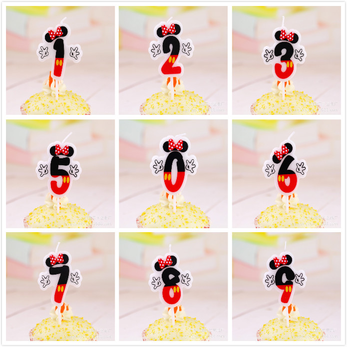 20PCS Black Red Cartoon Birthday Candles For Kids Girls Boys Party Number Cake Decorations 2 Sets 0 9