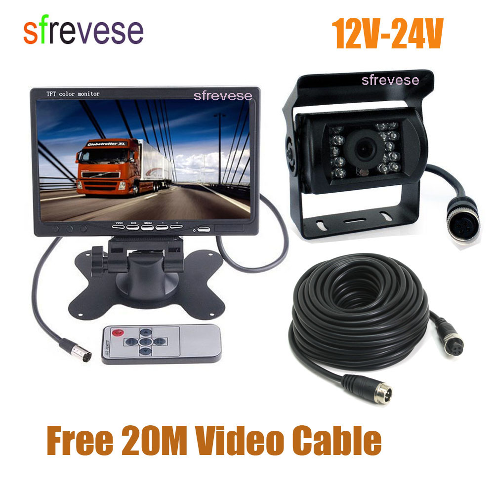 7inch LCD Monitor Car Rear View Kit   4Pin 18 LED CCD Parking Reversing Backup Camera 20m Cable for Bus Truck Motorhome 12V-24V