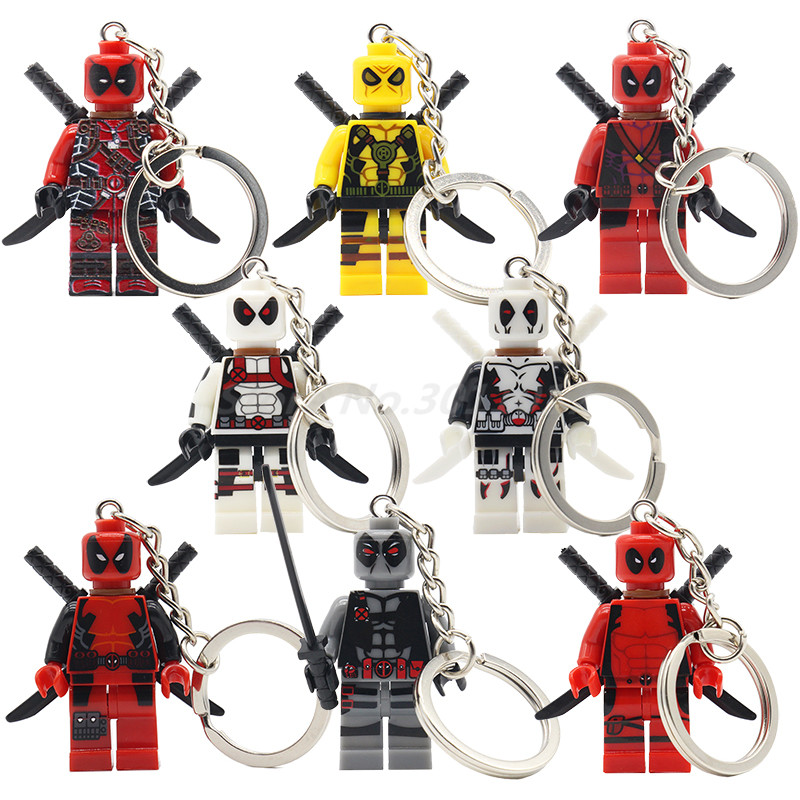 POGO Deadpool Keychain Action Figure Red White Yellow Grey Model Sets Single Sale Key Chain Marvel DC Building Blocks all characters tracer reaper widowmaker action figure ow game keychain pendant key accessories ltx1