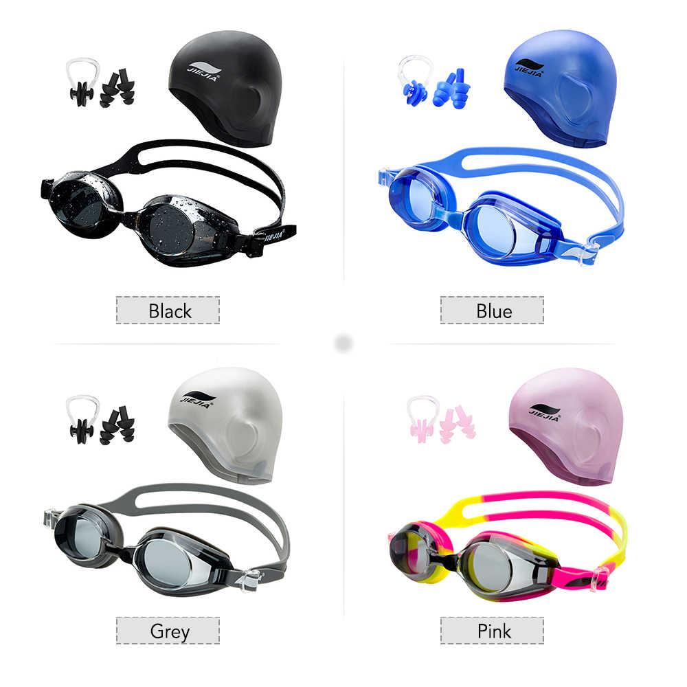 ว่ายน้ำว่ายน้ำชุดแว่นตาว่ายน้ำหมวกว่ายน้ำปลั๊กอุดหูและคลิปจมูกสำหรับผู้หญิงผู้ชายว่ายน้ำดำน้ำกีฬา