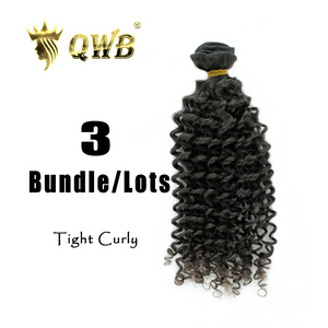 Image 3 - QWB Free Shipping Tight Curly 3Bundle/Lots 12~28Professional Ratio Brazilian Virgin Nature Color 100% Human Hair Extension
