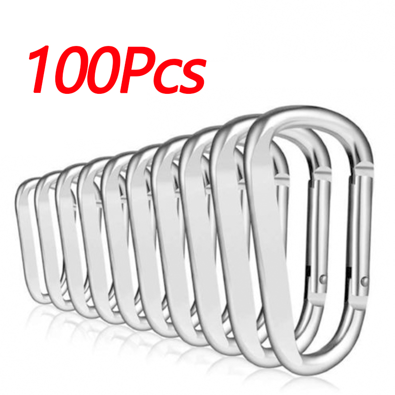 50/100 Pcs Mini Key Chain Buckles Carabiner Outdoor Activity Safety Portable Silver/Black Durable High Quality Aluminum