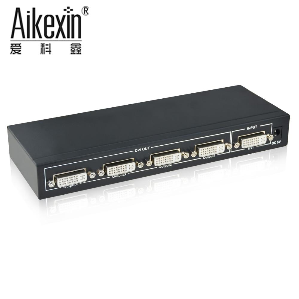 все цены на Aikexin 4 Port DVI Video Splitter Box Distribution Amplifier 1 in 4 out DVI Splitter with Power Supply онлайн