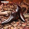 CONCISA 100% zapatos para hombre botas de cuero Genuino del zurriago de moda Hecha A Mano Italiano diseño de encargo de lujo zapatos de los hombres