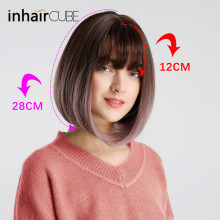Inhair Cube 10 Inches Bob Synthetic Flat Bangs Women Wig Ombre with Highlight Short Straight Hair Wig  Cosplay Hairstyle trendy full bang capless brown highlight bob style short straight synthetic wig for women