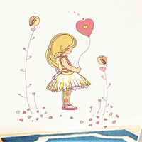 80x100cm PVC Removable Wall Stickers LOVE Cute Little Girl Baby Girl Room Sofa Bedroom TV Backdrop