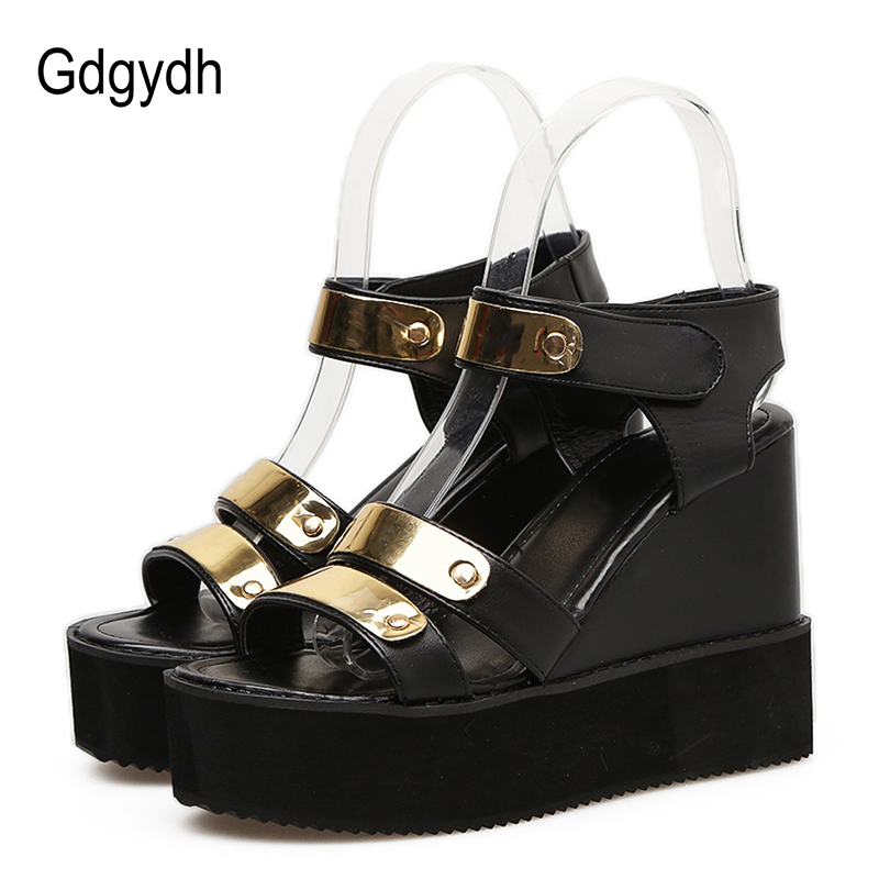 Gdgydh Women <font><b>High</b></font> <font><b>Heel</b></font> <font><b>Platform</b></font> <font><b>Sandals</b></font> <font><b>Sexy</b></font> Bling Hook Loop Ladies Casual Shoes On Summer 2020 New Arrival Female Wedges Shoes image