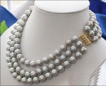 bjc 000696 triple strands 9-10mm natural south sea gray pearl necklace
