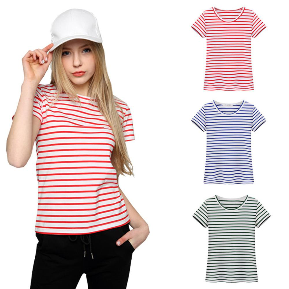Yfashion Women Fashion Short sleeved Soft Cotton Slim Fit Striped T shirt in T Shirts from Women 39 s Clothing