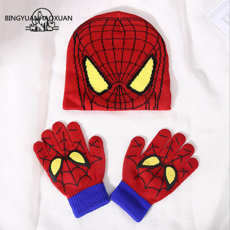 BINGYUANHAOXUAN Autumn Winter Girls Boys Hat Set Cartoon Spider Man Warm Cap knitted Hat Gloves Children Hat Sets Bonnet Gorro Шапка