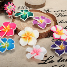 10pcs/lots 35mm Multicolored Polymer Clay Fimo Artificial Plumeria Frangipani Flower Bead For Diy Hawaiian Jewelry Craft Making