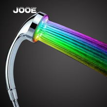 JOOE high pressure rainbow shower heads led 7 colors changing bathroom shower water saving temperature control 3 color ducha led