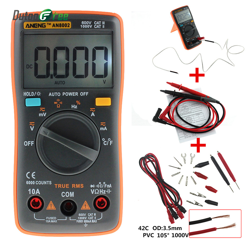 Dutoofree AN8002 Digital Multimeter 6000 Counts Backlight AC/DC Ammeter Voltmeter Ohm Portable Meter Multimetro Digitale an8002 multimeter 6000 counts back light ac dc ammeter voltmeter ohm frequency diode temperature y40