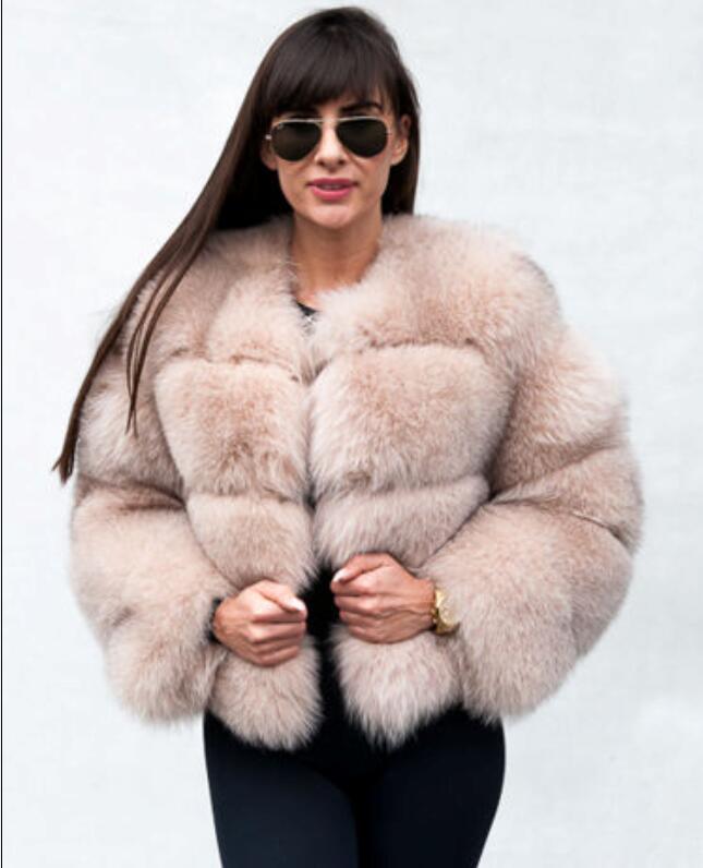 Européenne Réel Naturel Fox Kaki Renard Marque Forme Manteaux Puffy De Bulle Fourrure En Magnifique Vestes Audrey xOw6xnEIr