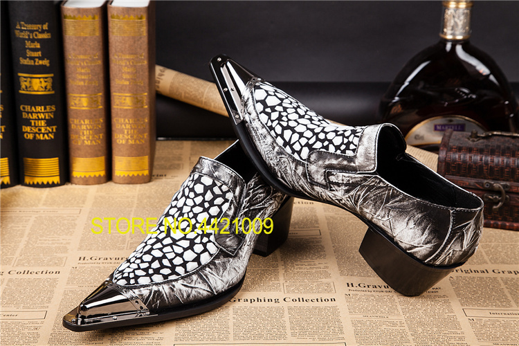 Genuine Leather Metal Sequined Mens Oxford Shoes Pointed Toe Men Dress Shoes Barber Oxfords Polka Dot Printed Men Shoes Leather цена 2017