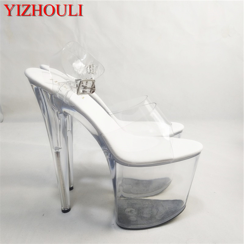d1189c7111ad Gorgeous gold silver glitter high heels 8 inch white flowers wedding shoes  clear platform Crystal shoes 20cm party dress sandals