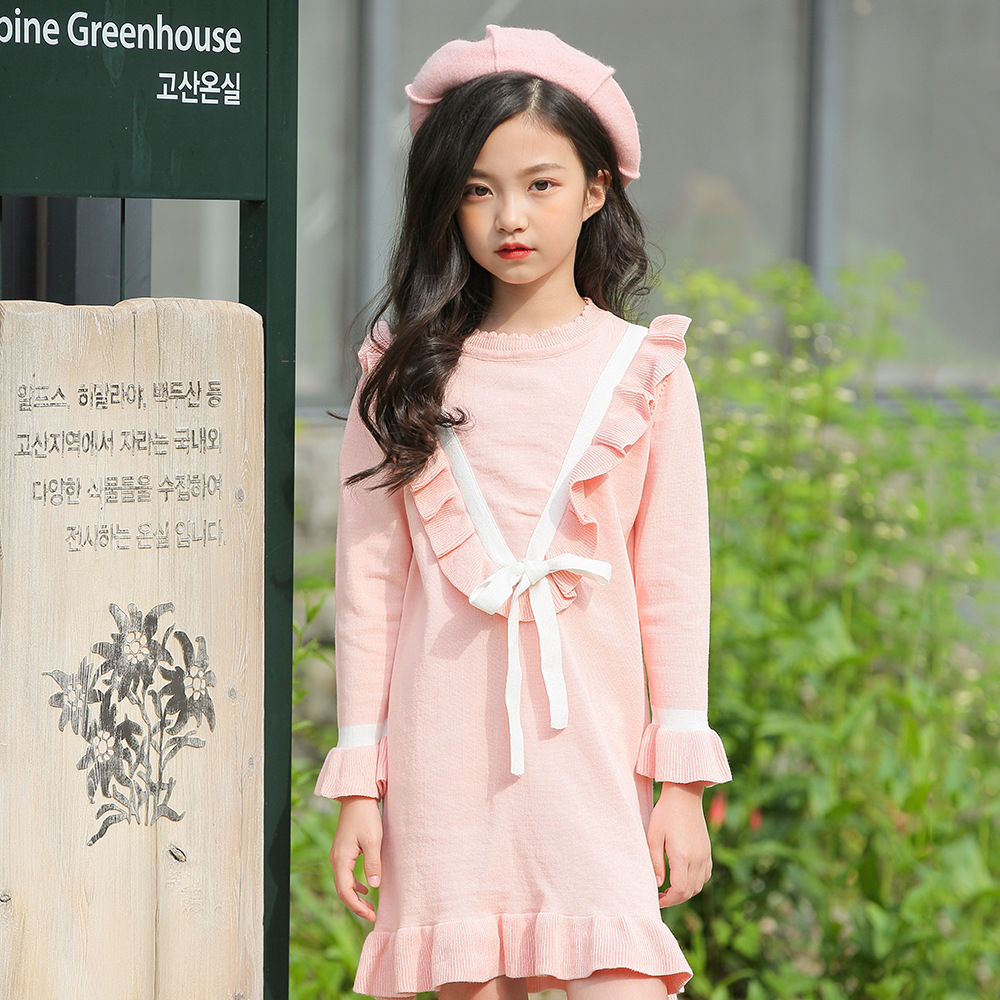 3-11T Girls Knitted Dresses Long Sleeve Letter Print Pullover Dress Child Striped Kids Dress Winter Autumn Casual Clothes CA220 touchfive 60 80 168 color art markers set oil alcohol based drawing artist sketch markers pen for animation manga art supplies