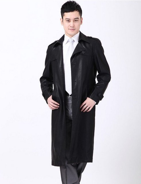 Free shipping hot sale New styles men's long coat fashion leisure leather jackets M---4XL