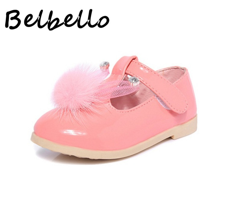 Belbello Baby Girls Shoes Children Loafer Kid Shoes Spring Summer Cute Sweet Bunny Ear Pompon Hook And Loop Flat Leather Shoes