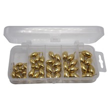 CATCHSIF 42pcs Smooth Ball Brass Drop Shot Weights Round Fishing Finesse Tackle Box kit