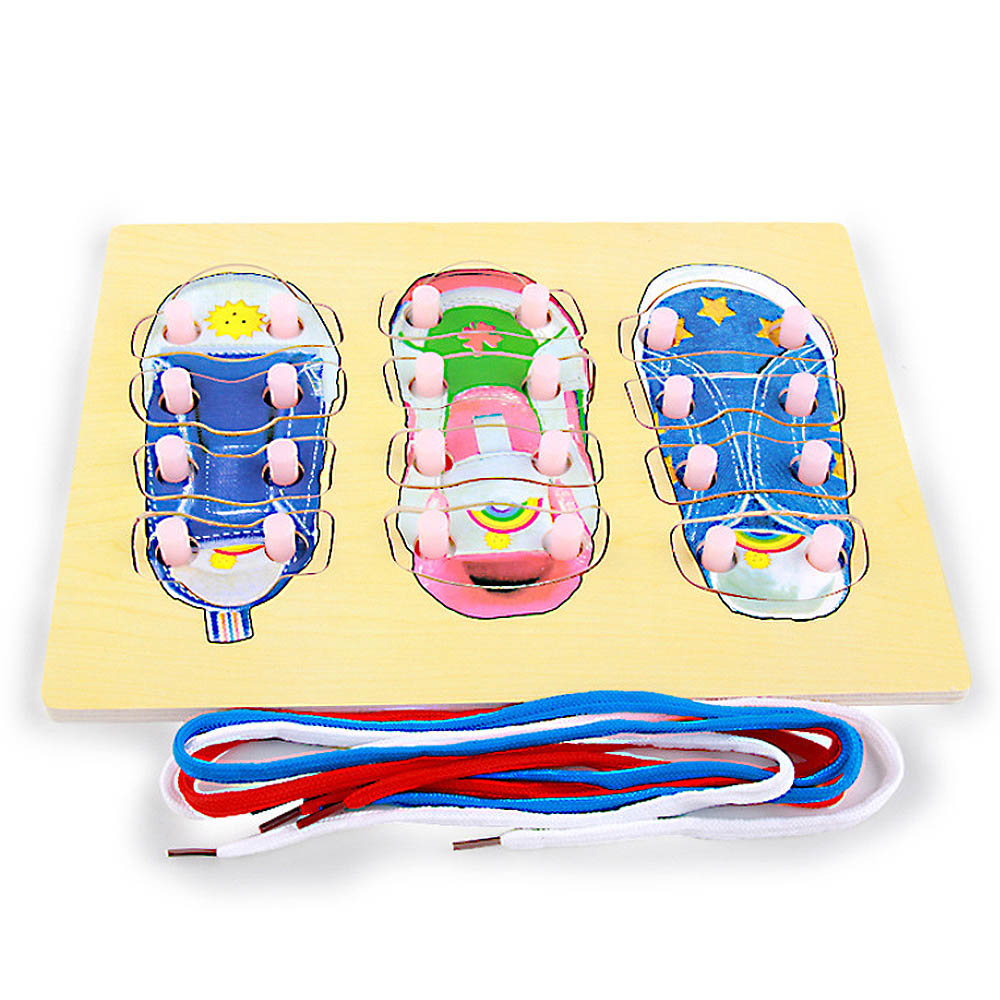 Learning Laces Wooden Crafts Toy Practice Ability Training Product Tie His Own Shoelaces Hands-on Learning Educational Early Toy