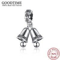 Réel Solide 925 Bijoux En Argent Sterling Double Tinker Bells Pendentif Charm Fit Pandora Bracelet Pour Les Femmes Bijoux De Noël GTP092