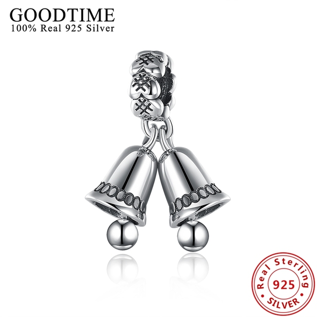 b8510a98b Real Solid 925 Sterling Silver Jewelry Double Tinker Bells Pendant Charm  Fit Pandora Bracelet For Women Jewelry Christmas GTP092