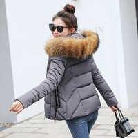 winter jacket women Parkas for Coat Fashion Female Down Jacket With a Hood Large Faux Fur Collar Coat 2019 manteau femme hiver