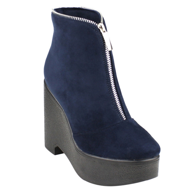 36b7adfd421 EJ30 Women s Fashion Front Zipper Platform Wedge Ankle Booties-in ...