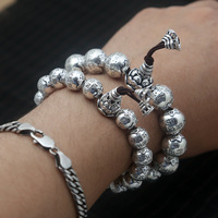 Wholesale S925 Sterling Silver Jewelry Retro Thai Silver Heart Sutra Circular Beads Fashion Coarse Beads Men And Women Bracelet