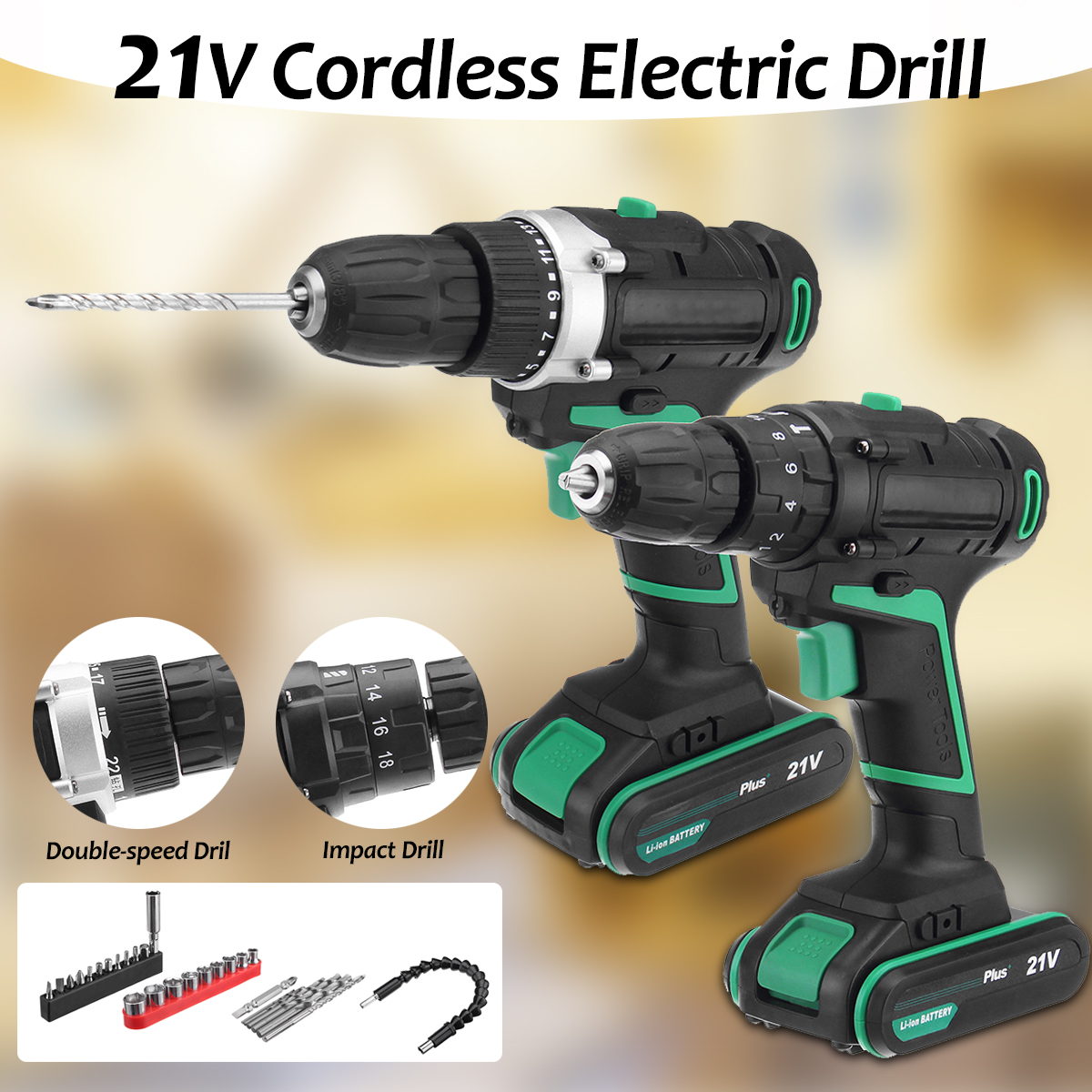 AC 100-240V 21V Plus Cordless Electric Screwdriver Rechargeable Power Drills Tools Lithium-ion Battery Electrical Hand Drill Set ac 100 240v 21v plus cordless electric screwdriver rechargeable power drills tools lithium ion battery electrical hand drill set