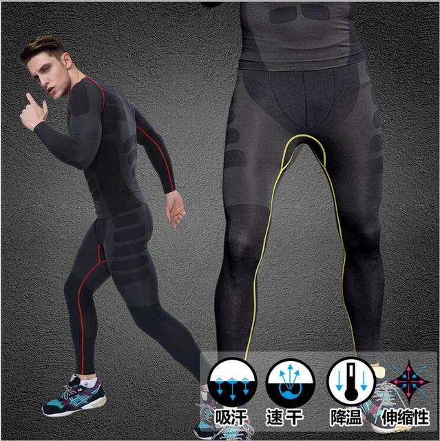764b1dd998a127 Men Quick Dry Sports Leggings Compression Wear Weight Lifting Running Tights  Fitness Trousers Yoga pants for Men