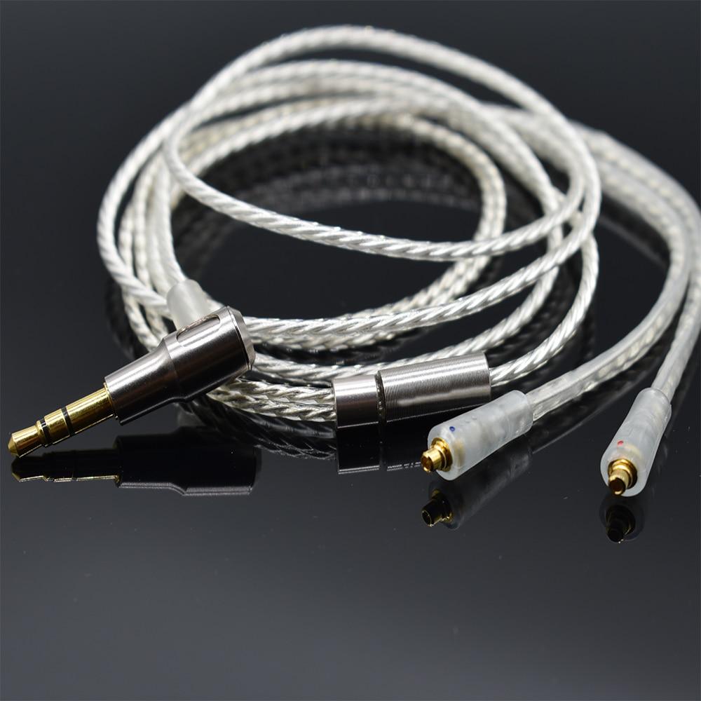 Nobyin atualização do Fone de ouvido fone de ouvido fio de cobre banhado a Prata mmcx cabo para SHURE se535 se846 SE215 NOBYIN S8 AZUR3 Pro fones de ouvido