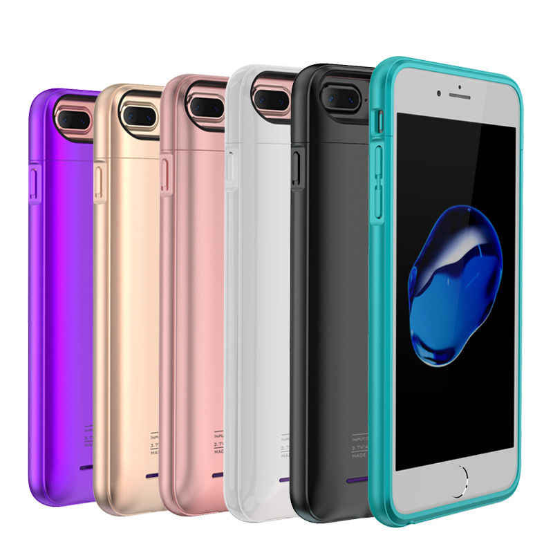 External Battery Charger Case For iPhone 6 6s 7 plus Cell Phone Power Bank Powerbank Charging Case Cover Built in Metal Sheet