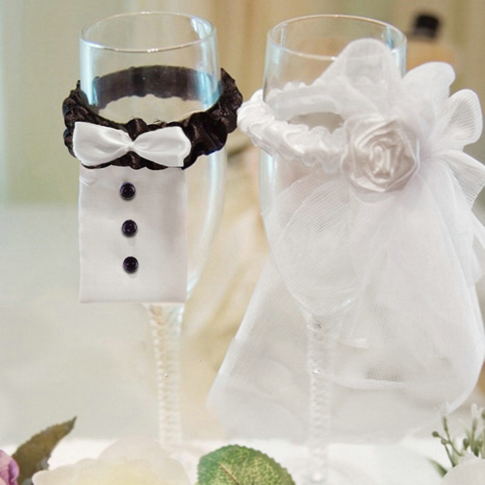2017 Bride And Groom Party Wedding Wine Glass Flute Covers ...