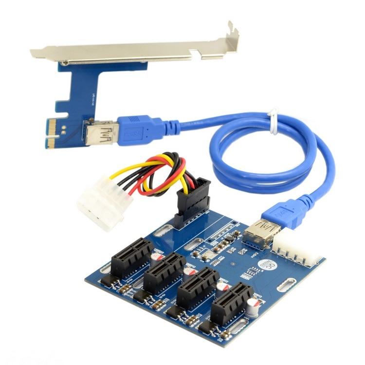 Un point quatre mines PCI-E transfert PCIe carte de transfert 1 glisser 4 PCI-E 1X carte d'extension 4 PCIe slot