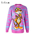 LOLEN Tiger Thin Section of Striped Sweaters Fashion Loose Long-sleeved Pullovers for Women
