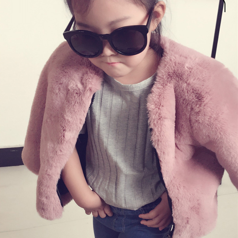 JKP 2018 girls sweet coat plus cotton padded coat autumn and winter children imitation fox fur rabbit fur grass coat FPC-190 plus contrast striped coat