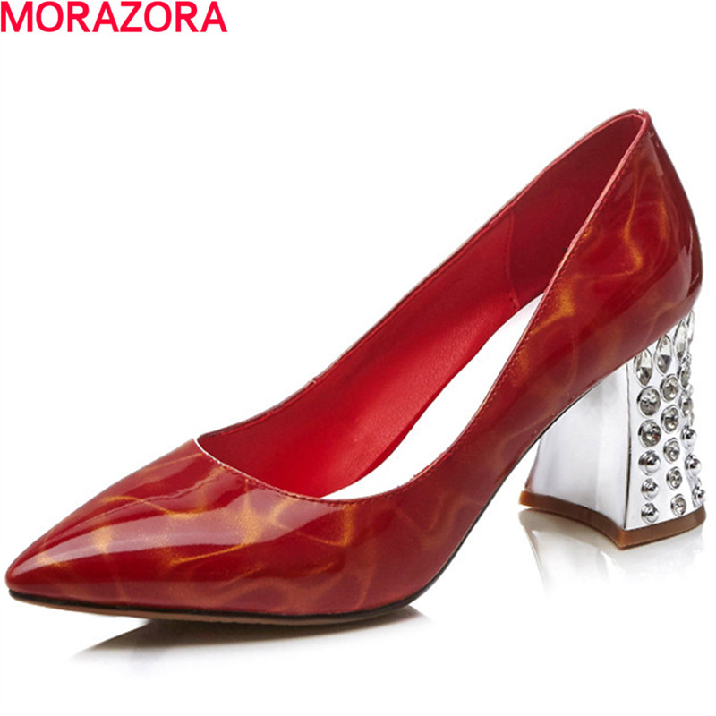 MORAZORA Contracted fashion square high heels shoes shallow pointed toe wedding party womens pumps big size 34-43 single shoes baoyafang bling womens wedding shoes high heels pumps women fashion shoes pointed toe ladies shallow sequined cloth female shoes