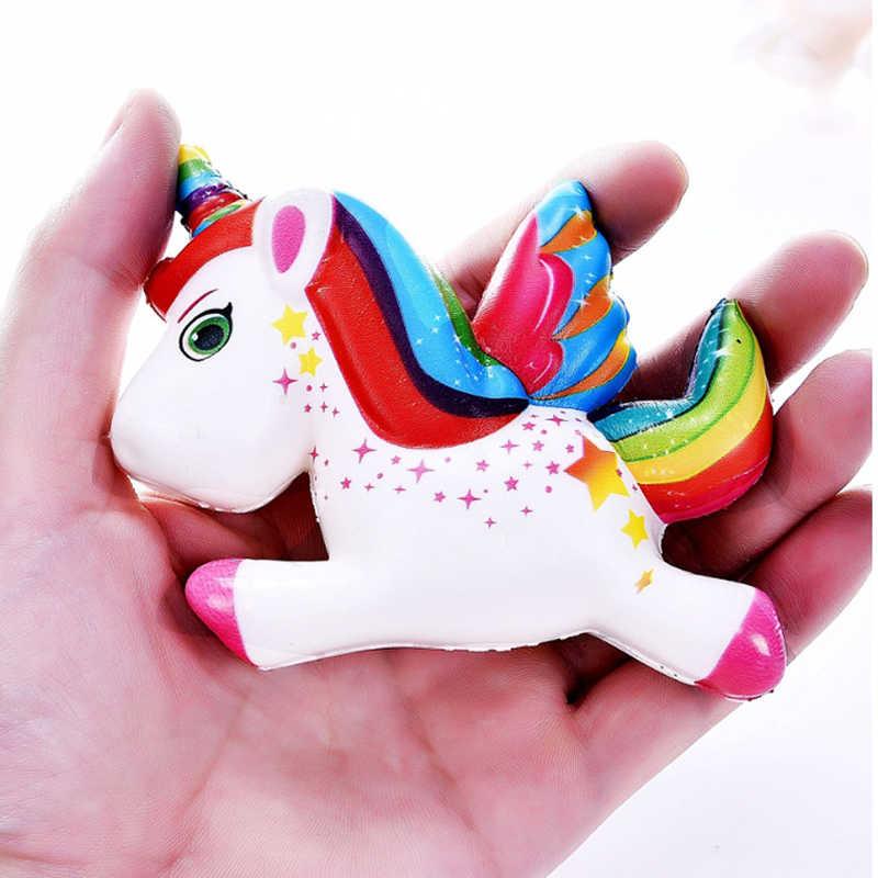 Kawaii coloré licorne Pegasus Squishy lente augmentation pain parfum doux presser jouet Simulation de soulagement du Stress amusant pour enfant cadeau de noël