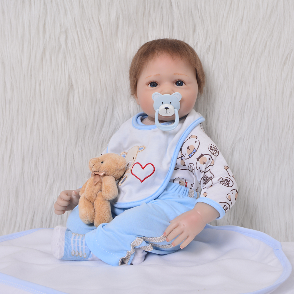 Realistic Soft Silicone Reborn Baby 22'' 55 cm Stuffed Dolls wear Ears Hat So Truly Lovely Boy Baby Alive Dolls Toy For Sale realistic ethnic dolls reborn baby dolls 22 55 cm soft silicone baby alive doll wear clothes so truly baby toys birthday gifts