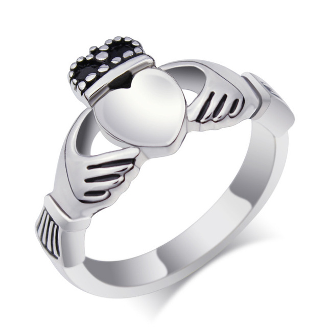 Stainless steel vintage traditional Irish Claddagh wedding rings